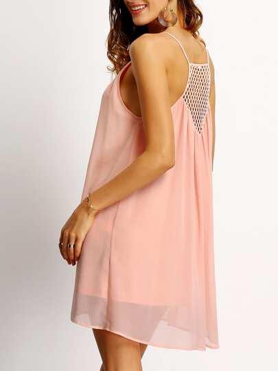 Pink Spaghetti Strap Hollow Back Shift Dress