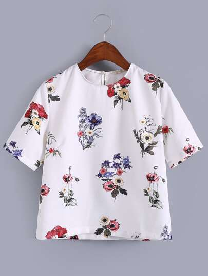 White Keyhole Back Floral Print Blouse