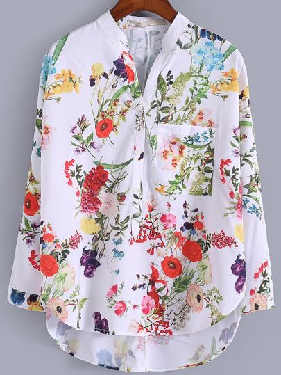 Multicolor V Neck Dip Hem Floral Print Blouse