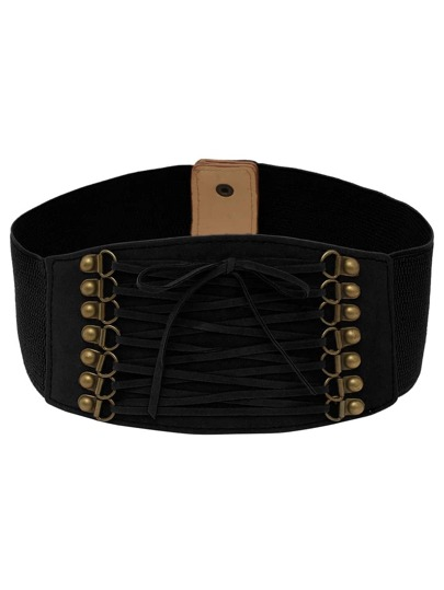 Lace-up Front Black Wide Elastic Belt