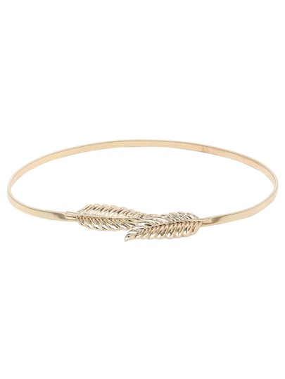 Leaf Buckle Golden Metal Elastic Belt
