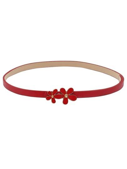 Red Inlay Daisy Buckle Skinny Belt