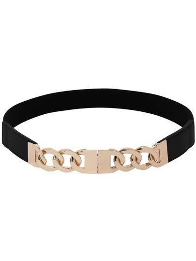 Link Chain Interlock Buckle Black Elastic Belt