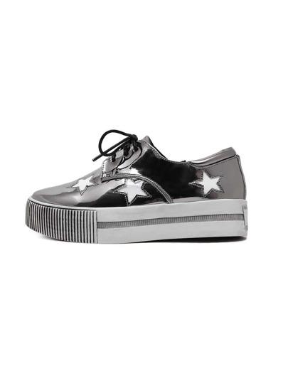 chaussure avec lacet motif étoiles -gris