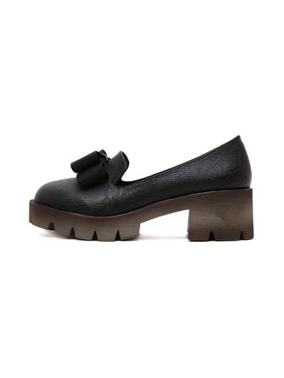 chaussure semelle compensée avec nœuds -Noir