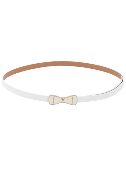 White Bow Buckle Skinny Belt