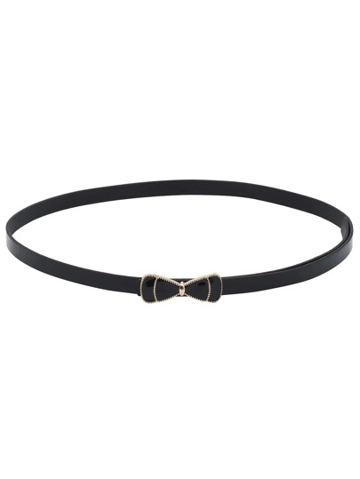 Black Bow Buckle Skinny Belt