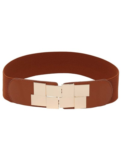 Interlock Buckle Tan Elastic Belt