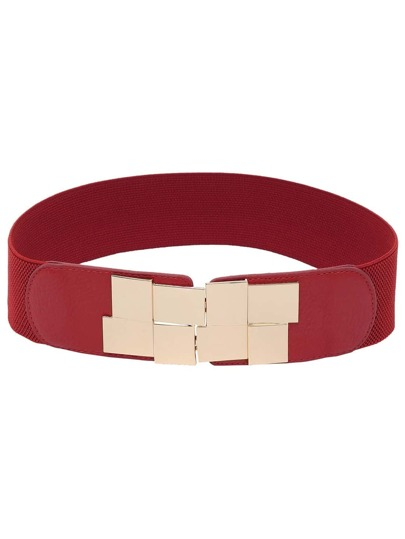 Interlock Buckle Red Elastic Belt