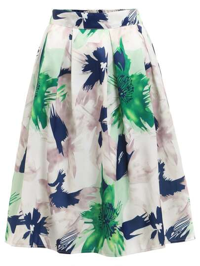 Flower Print Pleated Skirt