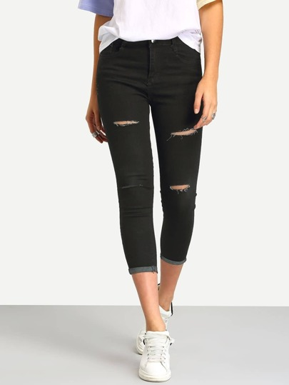 Ripped Cuffed Denim Slim Pant