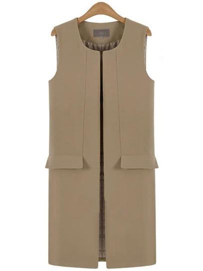 Beige Split Vest Coat With Pockets