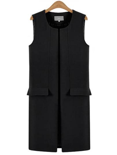 Black Split Vest Coat With Pockets