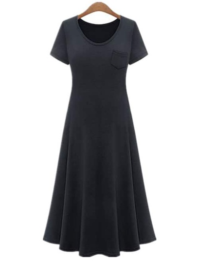 Black Short Sleeve A-Line Dress With Pocket