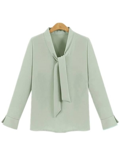 Green Tie Collar Chiffon Shirt