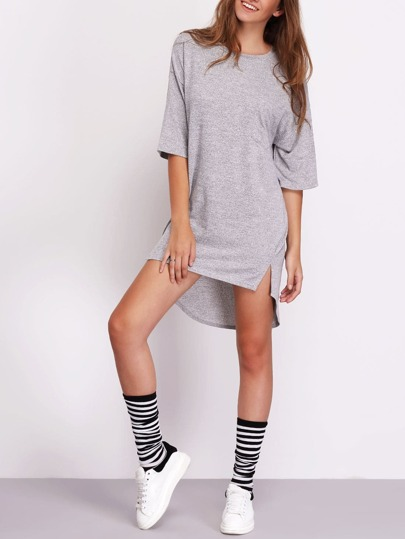 Grey Half Sleeve High Low Hem Casual Dress