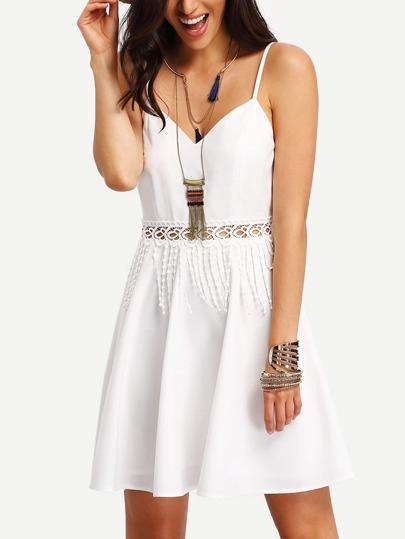 White Crochet Tassel Insert Slip Dress