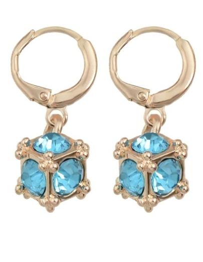 Blue Rhinestone Clip On Earrings