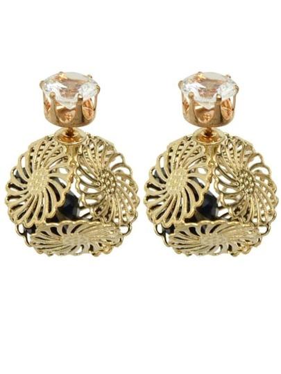 Black Rhinestone Ball Stud Earrings