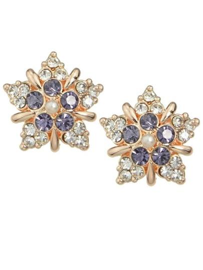 Purple Rhinestone Flower Stud Earrings