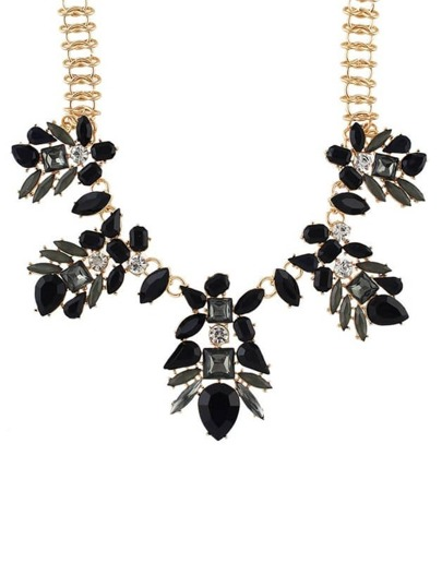 Black Rhinestone Flower Statement Necklace