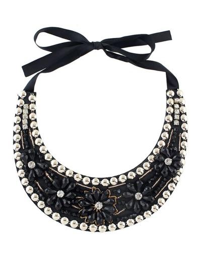 Black Beads Flower Collar Necklace