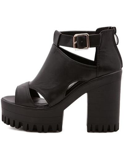 Sandales à semelle compensée bout ouvert avec boucle -noir