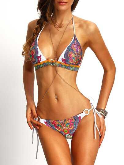 Set de bikini halter estampado