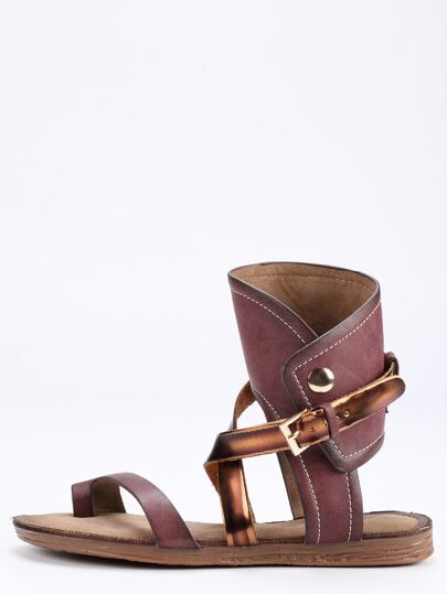 Maroon Buckle Strap Flat Sandals