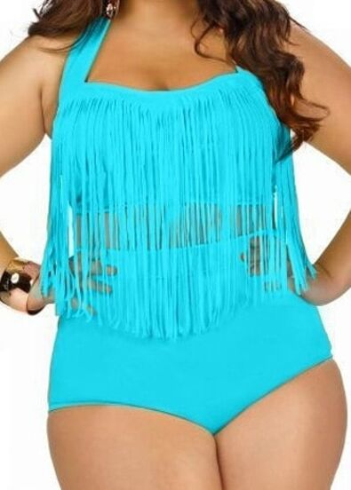Blue Halter High Waist Fringe Plus Swimwear