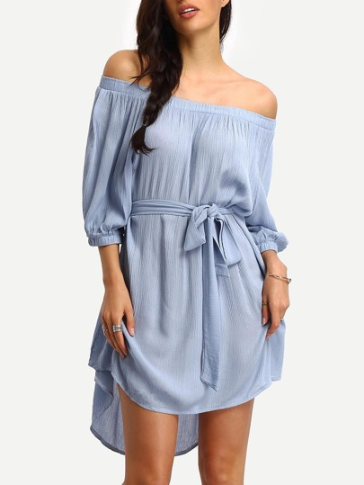 Off-the-shoulder Self-tie High Low Dress