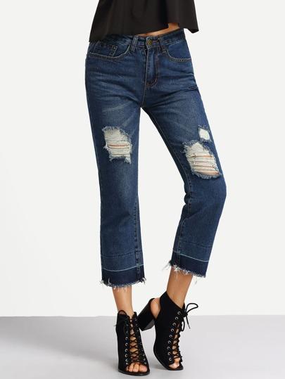 Knöchellange Denim Hose mit zerrissenen Design und Fransen -blau