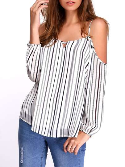 White Cold Shoulder Vertical Striped Keyhole Blouse