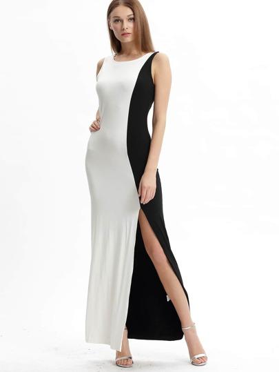 White Black Crew Neck Side Split Casual Maxi Dress