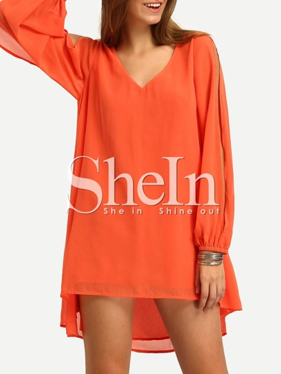 Orane V-neck Slit Sleeve Hih Low Dress