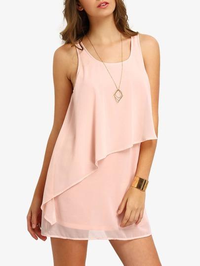 Pink Tank Neck Layed Chiffon Dress