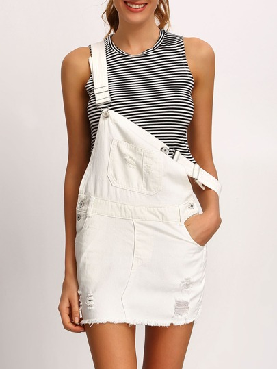 White Frayed Denim Overall Dress