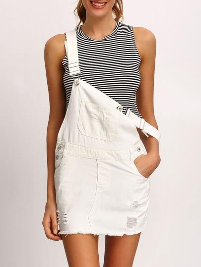 White Frayed Denim Overall Dress