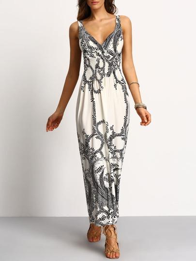 Deep-V Paisley Print Smocked Waist Maxi Dress