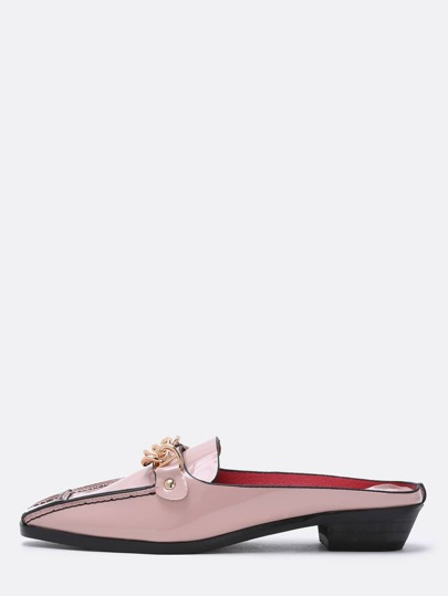 Pink Petent Gold Chain Backless Loafers