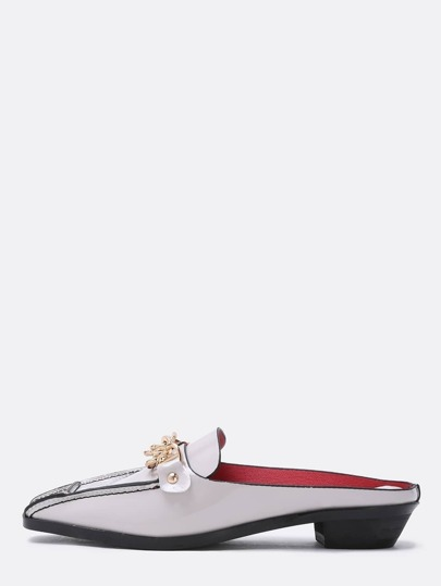 Grey Petent Gold Chain Backless Loafers