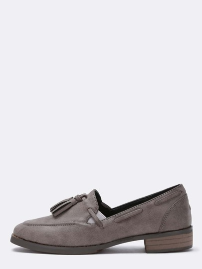 Grey Faux Leather Tassel Loafers