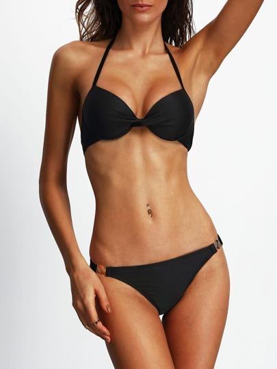 Halter Twist Front Bikini Set