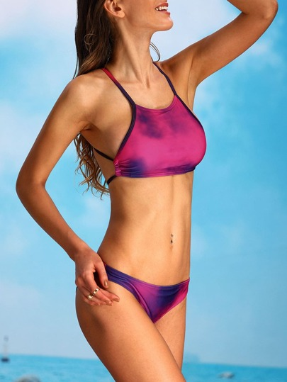 Tie Dye Print Crisscross Bikini Set