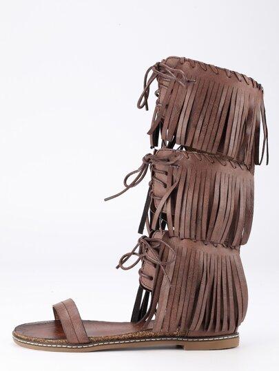 Camel Lace Up Tassel Flat Sandals