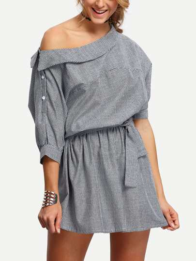Boat Neck Elbow Sleeve Vertical Striped Dress
