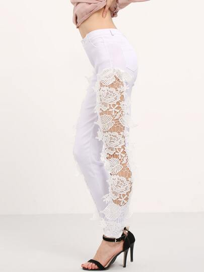 White Lace Insert Denim Pant