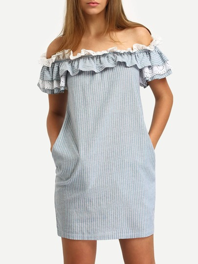 Blue Off The Shoulder Flounce Striped Pockets Dress