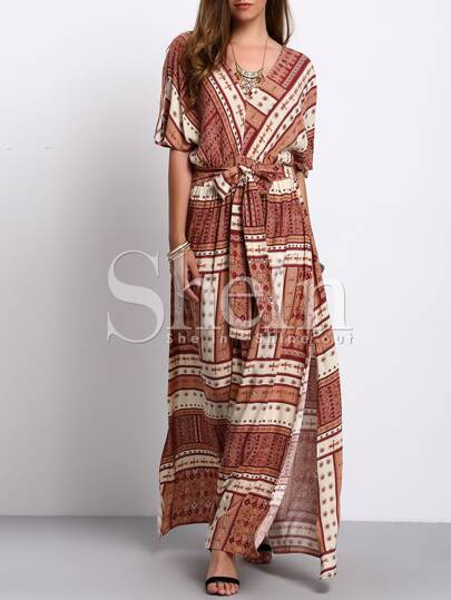 Multicolor V-neck Tie Waist Vintage Print Split Maxi Dress