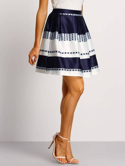 Color Block Printed A-line Skirt